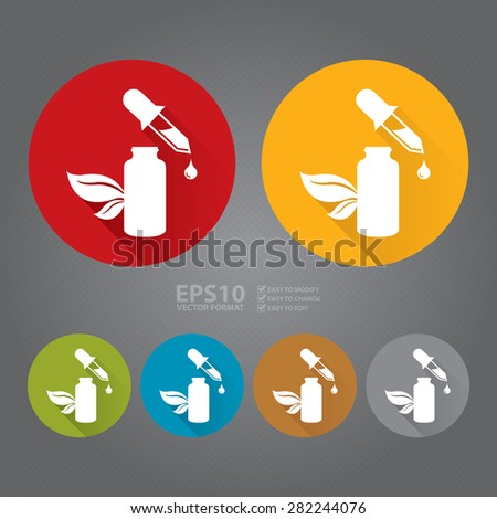 Vector : Circle Essential Oil or Organic Serum Flat Long Shadow Style Icon, Label, Sticker, Sign or Banner - stock vector