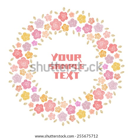 Vector circle floral frame. Simple original border with text box. ute hand drawn illustration for print, web - stock vector