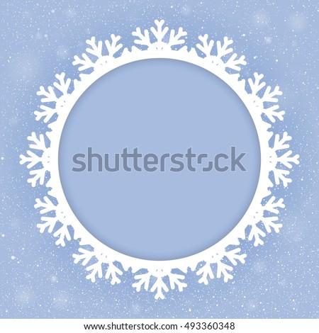 Vector Circle Frame Snowflake Falling Snow Stock Vector 493360348 ...