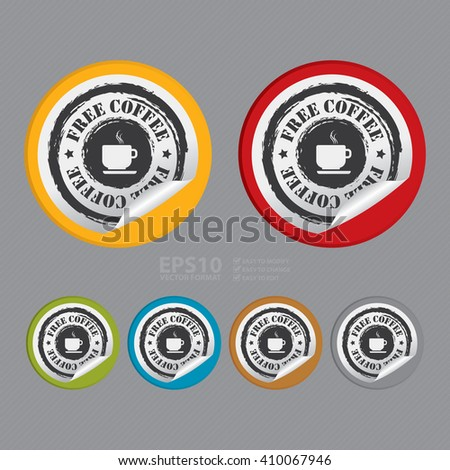 Vector : Circle Free Coffee - Product Label, Campaign Promotion Infographics Flat Icon, Peeling Sticker, Sign - stock vector