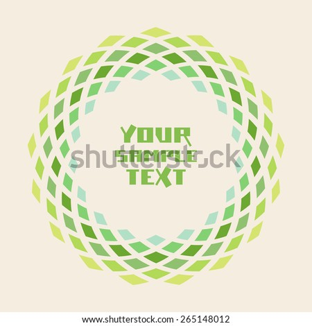 Vector circle geometric green frame. Simple original border with text box. Illustration for print, web - stock vector