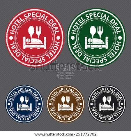 Vector : Circle Hotel Special Deal Grunge Sticker, Rubber Stamp, Icon, Tag or Label - stock vector