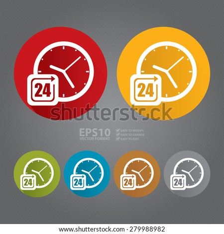 Vector : Circle 24 Hours Service, Open 24 Hours Long Shadow Style Icon, Label, Sticker, Sign or Banner - stock vector