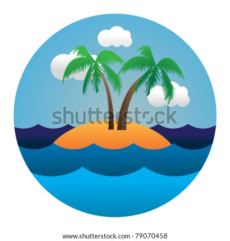 vector circle illustration of island in waves - stock vector