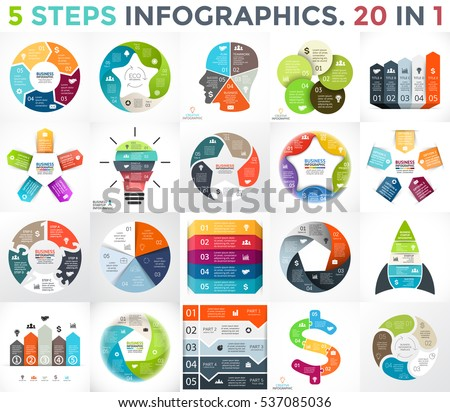 Vector circle infographic set. Business diagrams, arrows graphs, startup logo presentations and idea charts. Data options with 5 parts. Light bulb, brain education, star, dollar, pentagon, ecology.