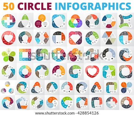 Vector circle infographic set. Business diagrams, round arrows graphs, presentations and charts. Data infographics options, parts, 3, 4, 5, 6, 7, 8 steps cycle processes. Plus, heart, triangle, square - stock vector