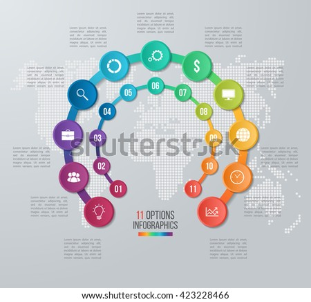 Vector circle infographic template for graphs, charts, diagrams. Business concept with 11 options, parts, steps, processes with world map on the background. - stock vector
