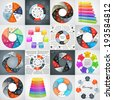 Vector circle infographics set. Template for diagram, graph, presentation and chart. Business concept with seven options, parts, steps or processes. Abstract background. - stock