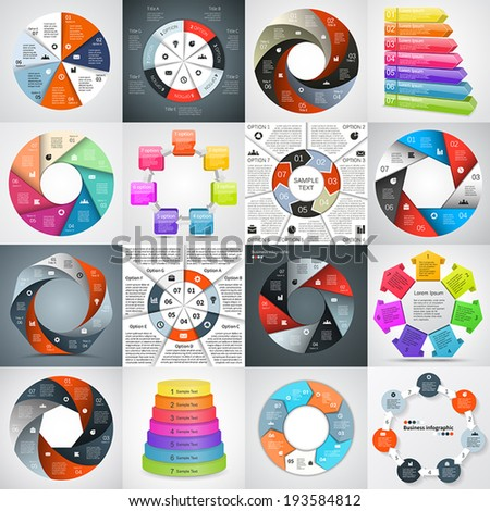 Vector circle infographics set. Template for diagram, graph, presentation and chart. Business concept with seven options, parts, steps or processes. Abstract background. - stock vector