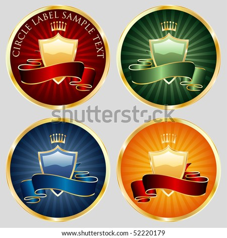 vector circle labels in four color variations - stock vector