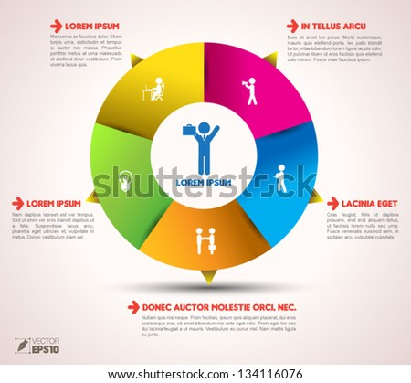 Vector  circle loop business concepts with  icons / can use for info-graphic / loop business report or plan / modern template / education template / business brochure /  system diagram - stock vector