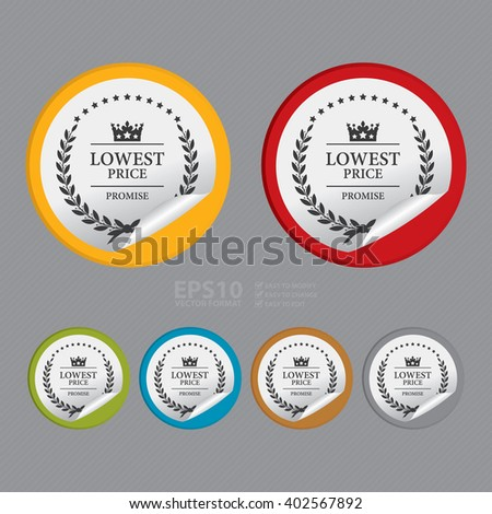 Vector : Circle Lowest Price Promise Product Label, Campaign Promotion Infographics Flat Icon, Peeling Sticker, Sign - stock vector