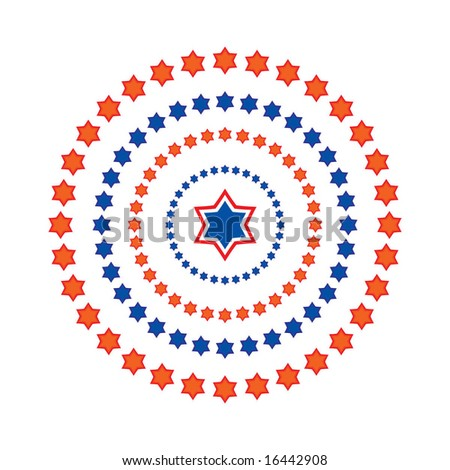 vector circle made of red and blue stars in different tones - stock vector
