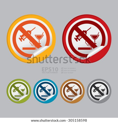 Vector circle no drug prohibited sign infographics sticker icon or label