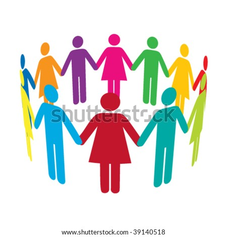 Vector Circle of Colourful People - stock vector