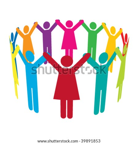 Vector Circle of Colourful People Holding Hands High Up - stock vector