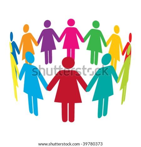 Vector Circle of Colourful Women - stock vector