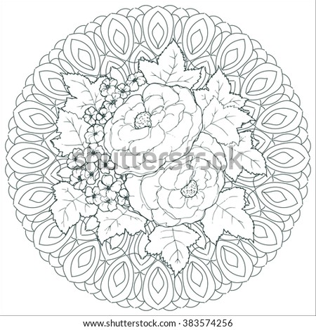 Vector circle ornament element. Mandala with flower. Pattern for invitations, flayers, yoga centers, spa salon, body art, antistress coloring, posters, design, scrapbooking.