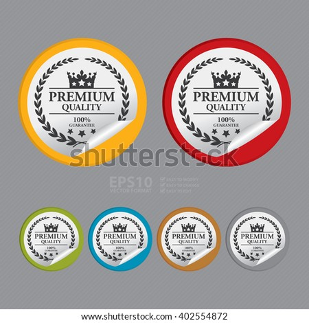 Vector : Circle Premium Quality 100% Guaranteed Product Label, Campaign Promotion Infographics Flat Icon, Peeling Sticker, Sign - stock vector