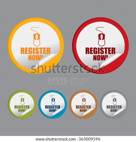 Vector : Circle Register Now! Infographics Flat Icon, Peeling Sticker, Sign - stock vector