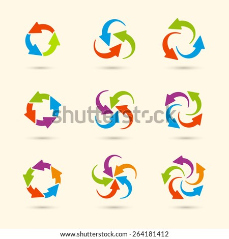 Vector circle round colored arrows set for business, diagram in flat style. Eps10 - stock vector
