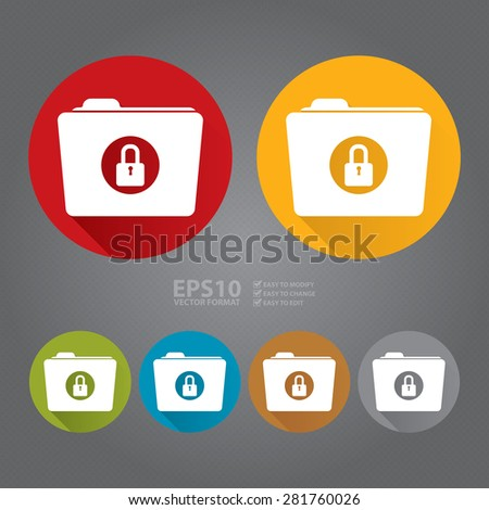 Vector : Circle Secret, Security, Folder With Key Lock Flat Long Shadow Style Icon, Label, Sticker, Sign or Banner - stock vector