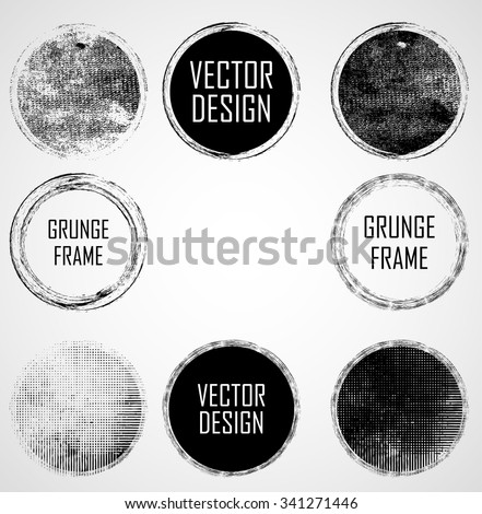 Vector Circle Shapes Collection . Set of Circle Stamps . Rounded Frames.  - stock vector