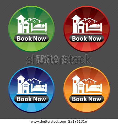 Vector : Circle Shiny Style Book Now With Hotel Sign Icon, Sticker or Label - stock vector