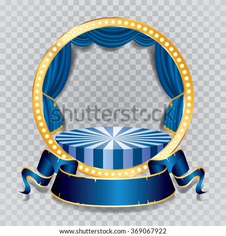 vector circle stage with blue curtain, golden frame, bulb lamps and transparent shadow - stock vector