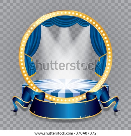 vector circle stage with blue curtain, golden frame, bulb lamps and transparent spots - stock vector