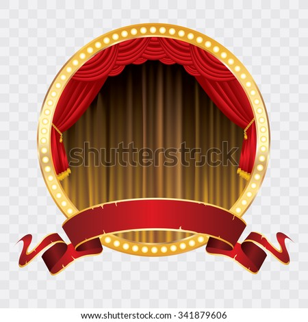 vector circle stage with golden curtain, golden frame and bulb lamps - stock vector