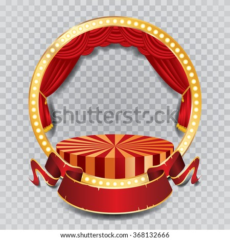 vector circle stage with red curtain, golden frame, bulb lamps and transparent shadow - stock vector