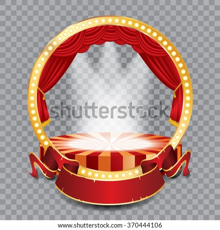 vector circle stage with red curtain, golden frame, bulb lamps, transparent spots and blank banner