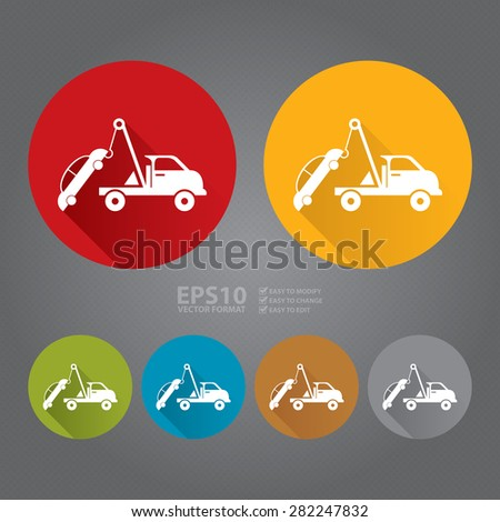 Vector : Circle Tow Car Service Flat Long Shadow Style Icon, Label, Sticker, Sign or Banner - stock vector