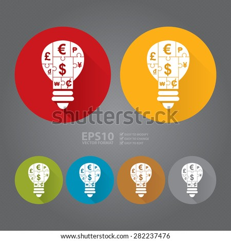 Vector : Circle Various Currency Sign Puzzle in Light Bulb Flat Long Shadow Style Icon, Label, Sticker, Sign or Banner - stock vector