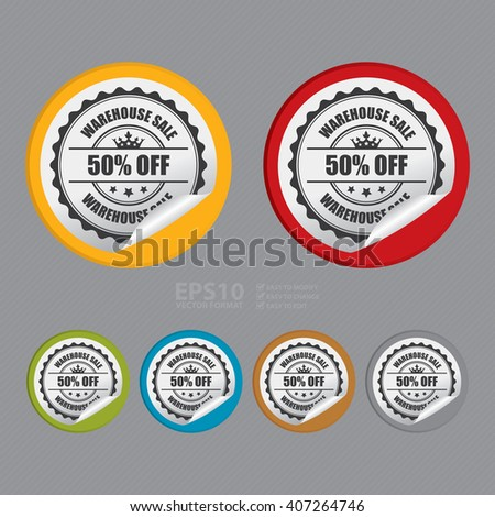 Vector : Circle Warehouse Sale 50% Off Product Label, Campaign Promotion Infographics Flat Icon, Peeling Sticker, Sign - stock vector
