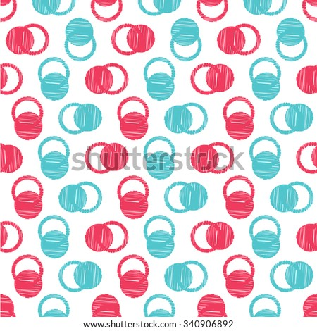 Vector circles abstract seamless pattern background with hand drawn element.