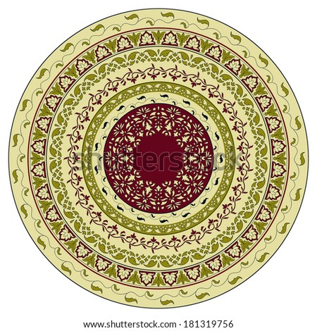 Vector circles floral pattern, indian style, can be used as plate, mandala - stock vector