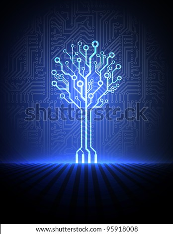 Vector circuit board background with blue  electronic tree - stock vector