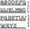 vector circuit board simple alphabet - stock vector
