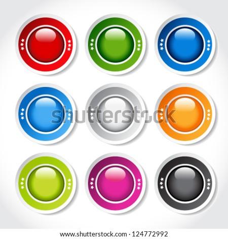 Vector circular blank glossy buttons - stock vector