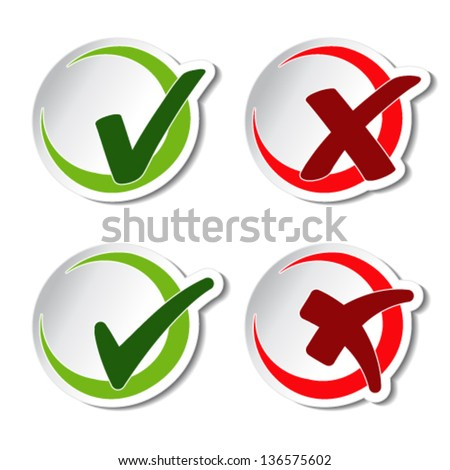 Vector circular check mark symbols - stock vector