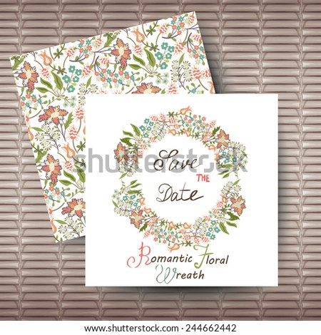 Vector circular floral wreaths with flowers. Wedding invitation card with  floral background. - stock vector