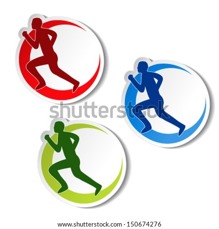 Vector circular stickers of fitness - runner silhouette, sport symbol  - stock vector