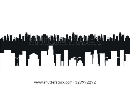 Vector cities silhouette. Black and white cities silhouette. Cities silhouette small town, cityscape buildings. City silhouette, city vector illustration. Skyscrapers silhouette. Business center city - stock vector