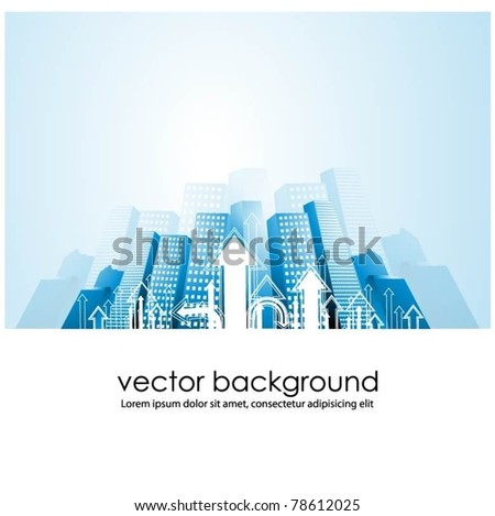 vector city background with arrows - stock vector
