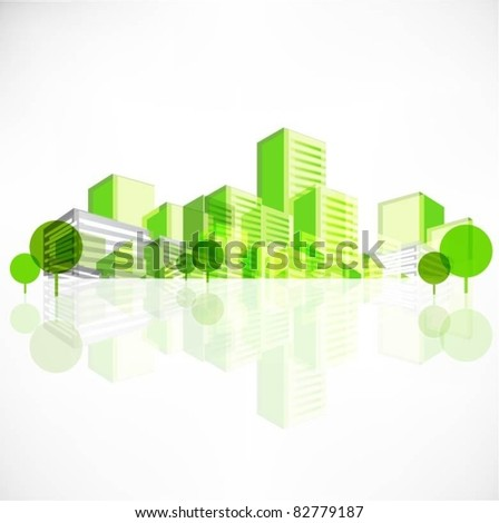 vector city background with trees - stock vector