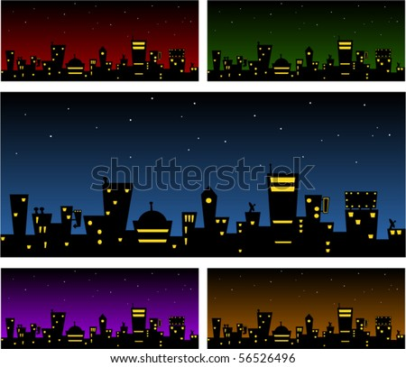 Vector City Backgrounds - stock vector
