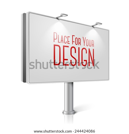 Vector city billboard with lamps, isolated on white background with reflections. With place for your design and branding. - stock vector