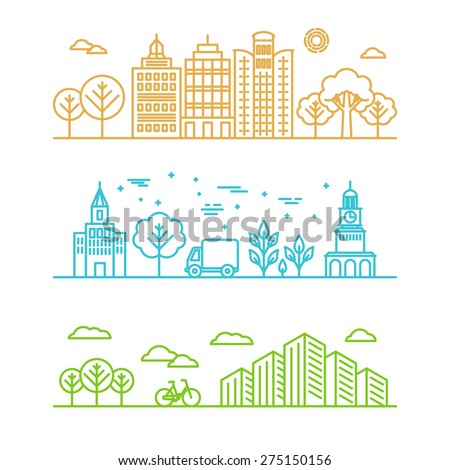 Vector city illustration in linear style - buildings and clouds - graphic design template - stock vector